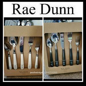 NWT WHITE Rae Dunn Silverware Bundle X 4 Sets